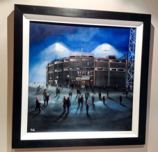 "Manchester United Old Trafford - original FRAMED oil painting - on canvas board 20""x20"""